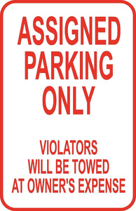 "Assigned Parking Only Sign 12"" x 18"" Aluminum Metal Road Street Garage Lot #27"