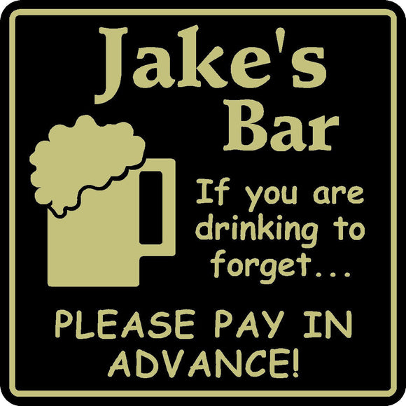 New Personalized Custom Name Drinking To Forget Bar Beer Pub Gift Sign #6