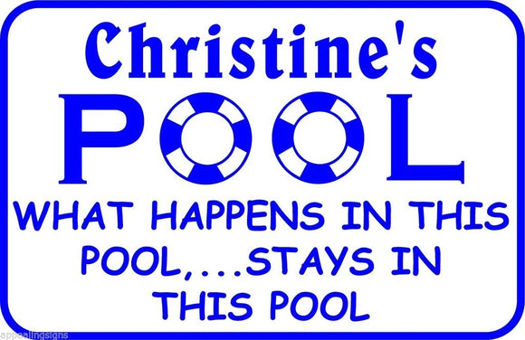 Personalized Custom Name What Happens Here Swimming Pool Metal Sign #6 Free Ship