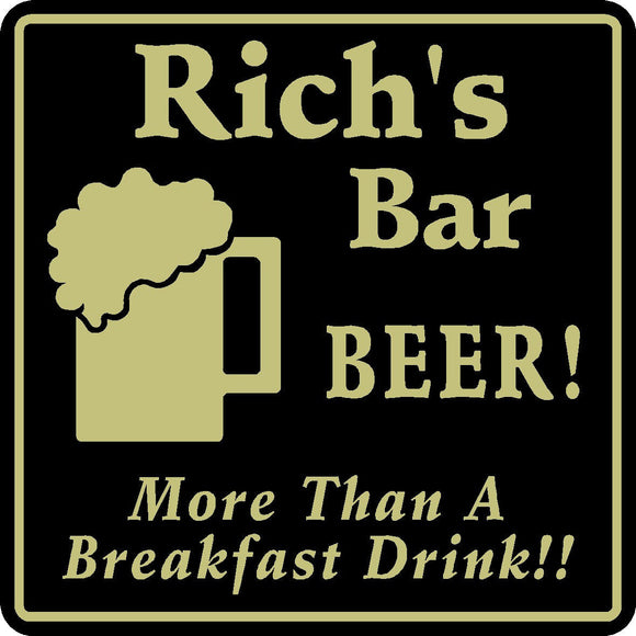 New Personalized Custom Name Beer A Breakfast Drink Bar Beer Pub Gift Sign #13