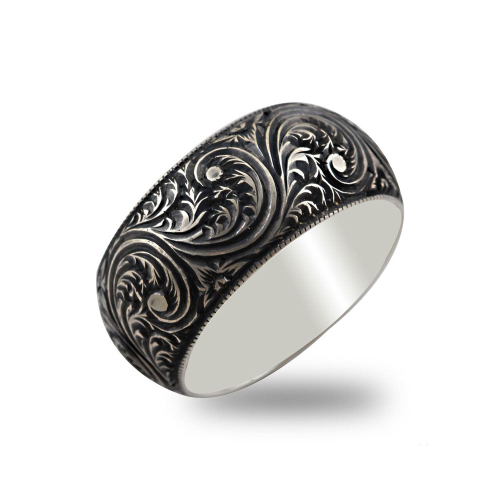 Exclusive Design Handmade Hand Carving Sterling Silver Wedding Ring