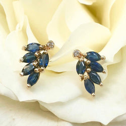 14KY Gold Earrings with Marquise Cut Sapphires and Round Cut Diamonds