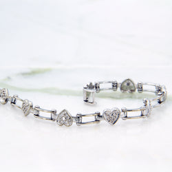 10K White Gold Heart Diamond Bracelet