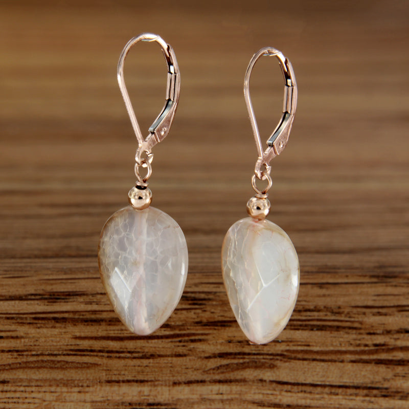 Agate and Rose Gold Filled Bead on Euro Back Earrings