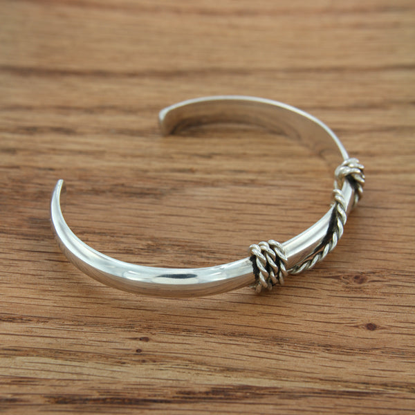 Handmade Sterling Silver Cuff with Wire Wrap Accents