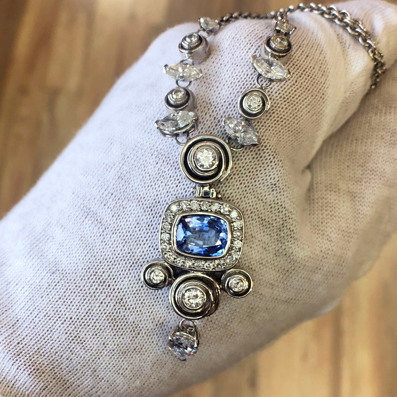14K White Gold Pendant with Ceylon Sapphire and Diamonds Elegant High-End