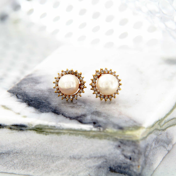 Pearl and Diamond Post Earrings