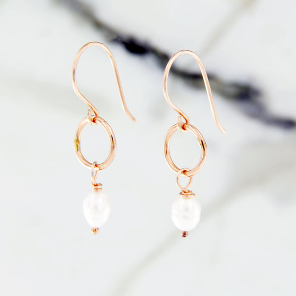 rose gold earrings with drop pearl