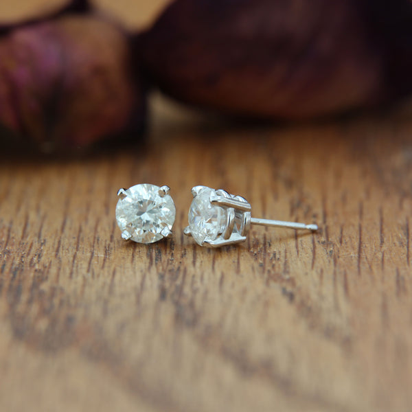 White Gold Diamond Earring Posts