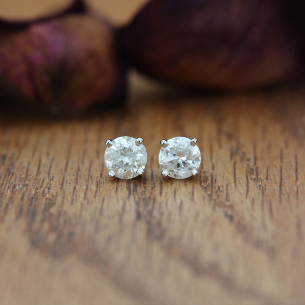 Diamond Post Earrings White Gold