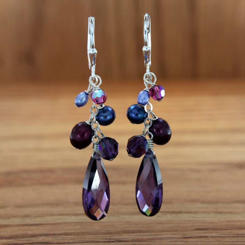 sterling silver dangle earrings bridesmaids gift purple