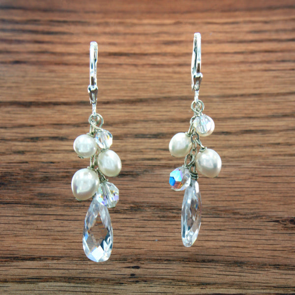Sterling Silver Bridal Dangle Earrings with Pearls and Swarovski Crystals