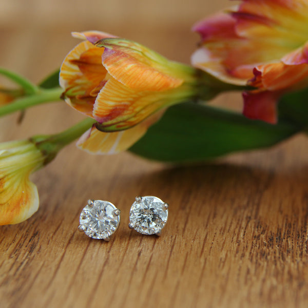 white gold post earrings diamond studs with flower