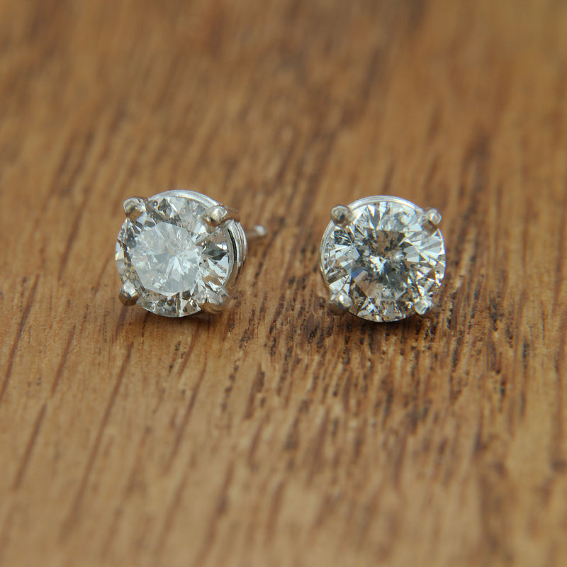 white gold post earrings diamond studs front view