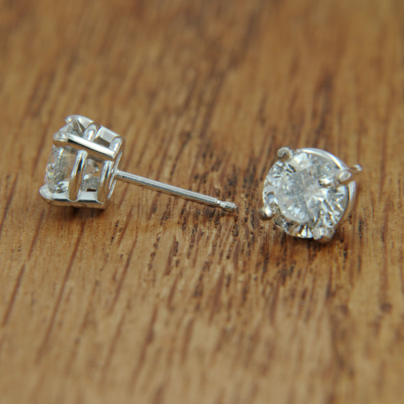 white gold post earrings diamond studs side view