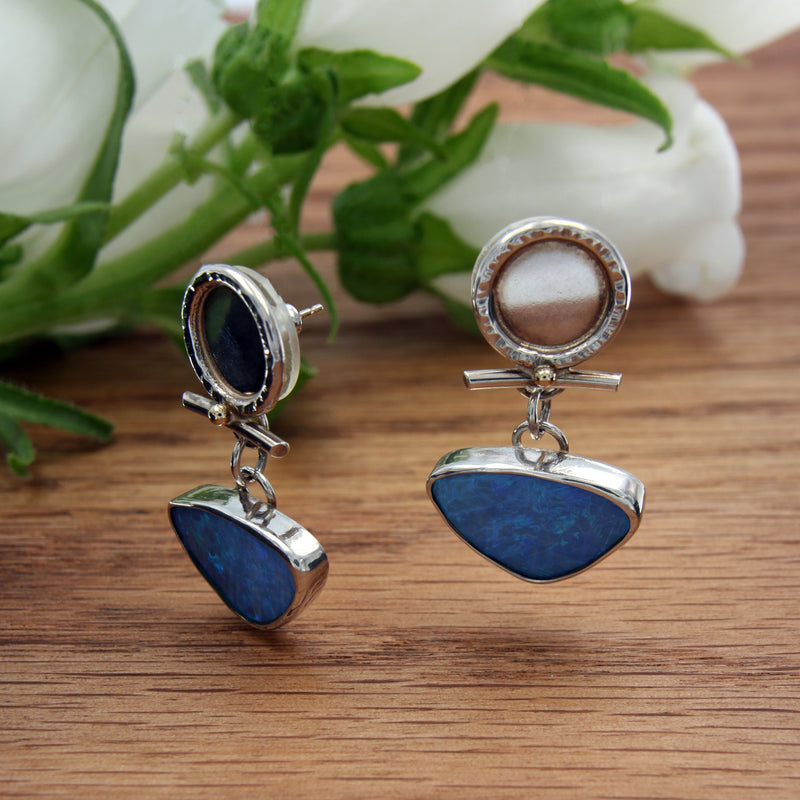 Sterling Silver Earrings with Genuine Blue Opals Handmade by Kathryn Pearce