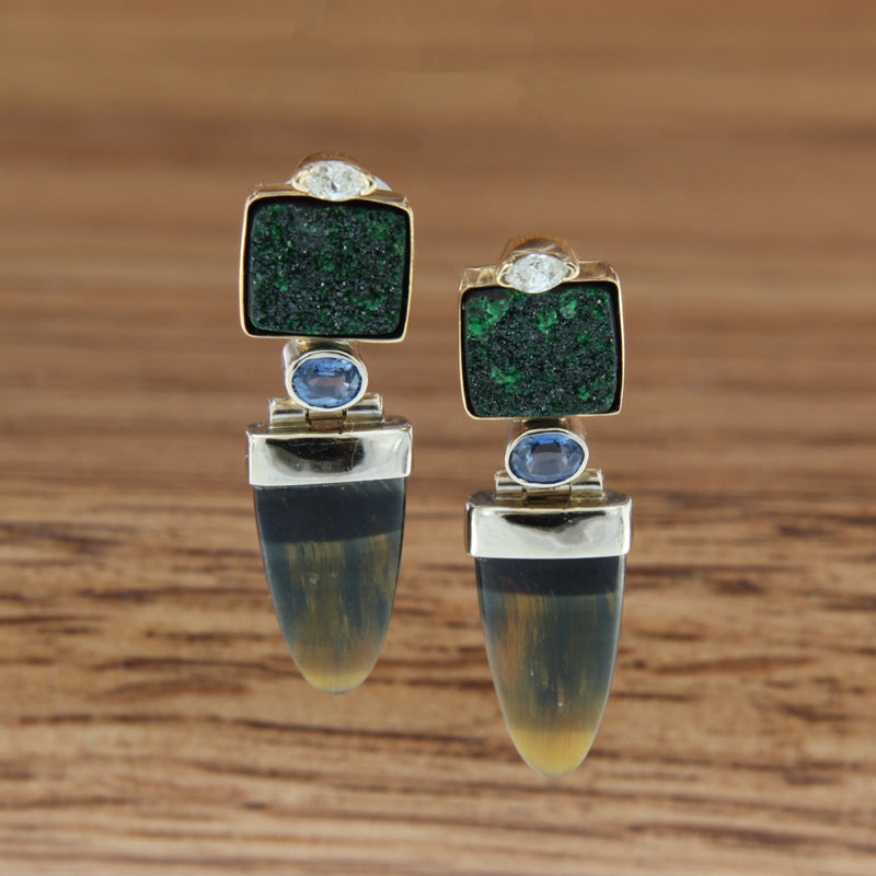 14k tt post earrings square tsavorite garnet druzie dia and sapphire accents w/articulated  gold capped tigerseye bullet