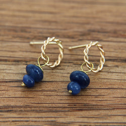 Genuine Sapphire Earrings Handmade 14K Yellow Gold Twist Post Dangle