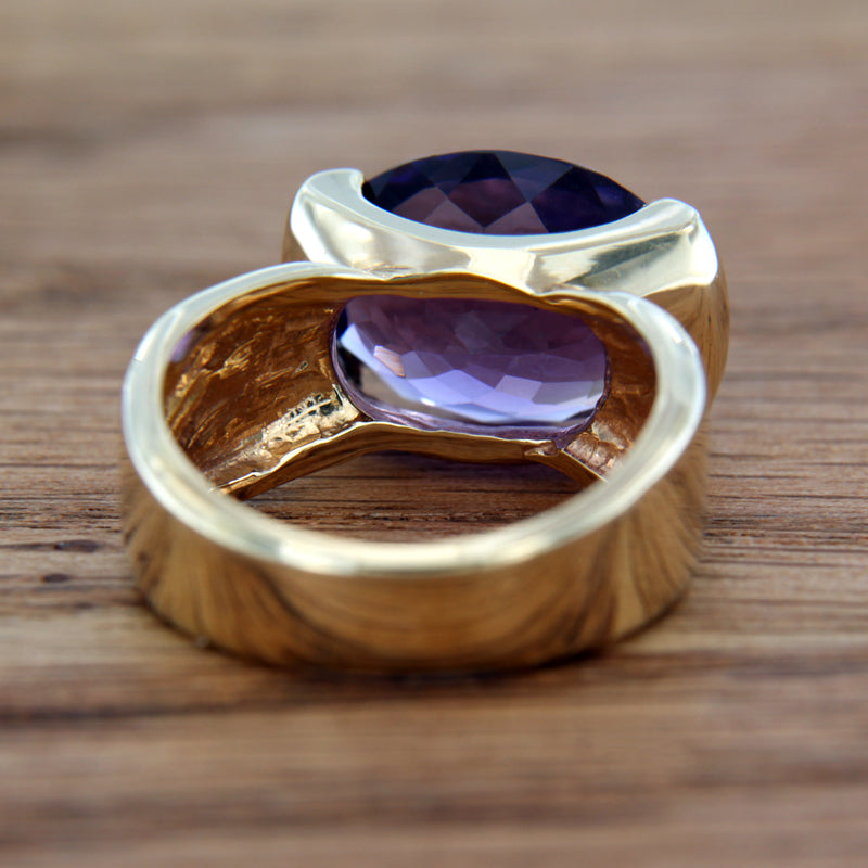 Oval Genuine Amethyst Gemstone 14K Yellow Gold Ring