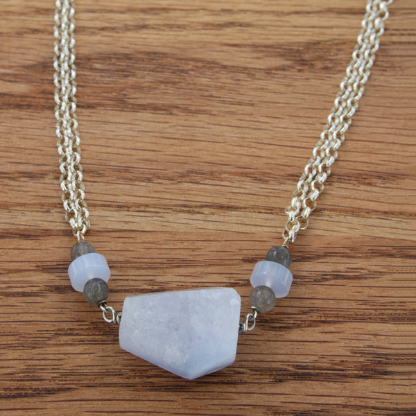 blue lace agate druzie with labradorite and chalcedony bead accents, double sterling silver rolo chain w/toggle clasp