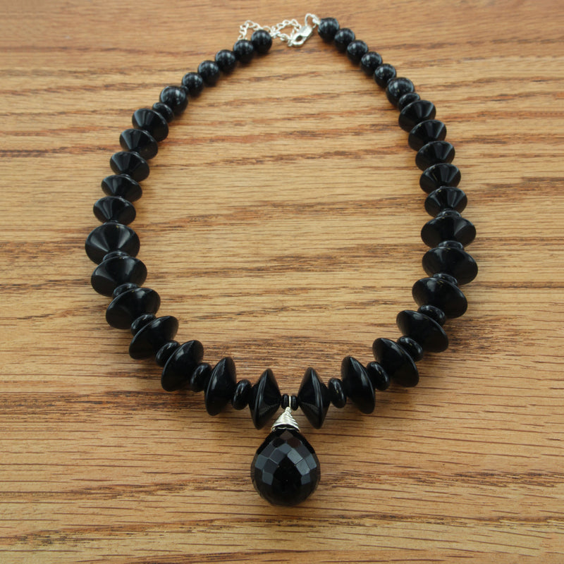sterling silver and faceted teardrop onyx on beaded necklace