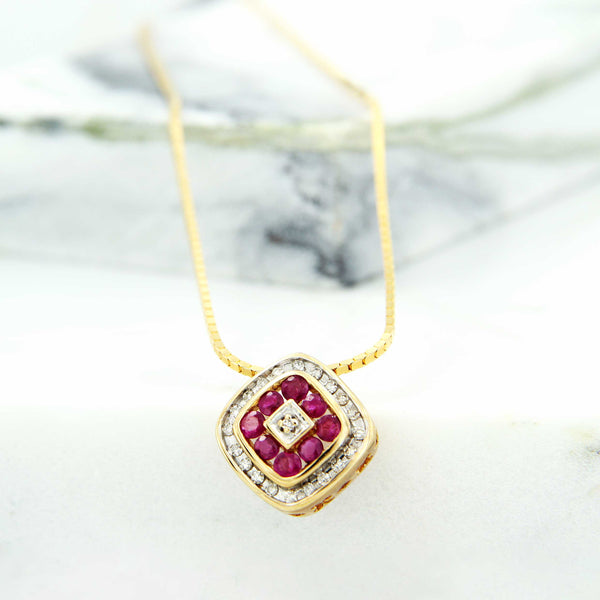 Ruby and Diamond XOXO Pendant