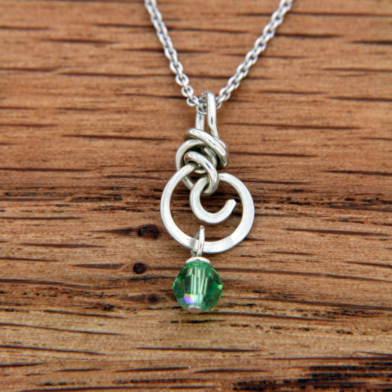 Green Swarovski Bead Drop on Handmade Sterling Silver Spiral Pendant
