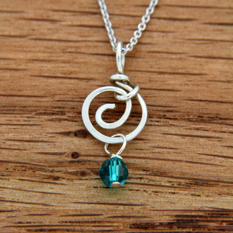 Teal Swarovski Bead Drop on Handmade Sterling Silver Spiral Pendant
