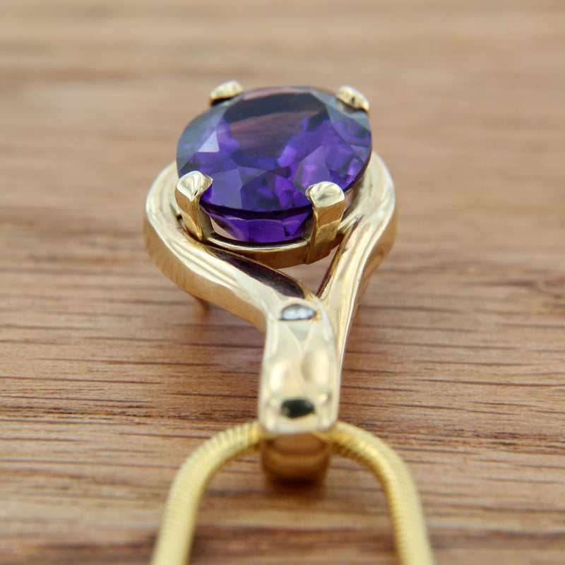 Oval Amethyst Gemstone with Diamond in 14K Yellow Gold Pendant