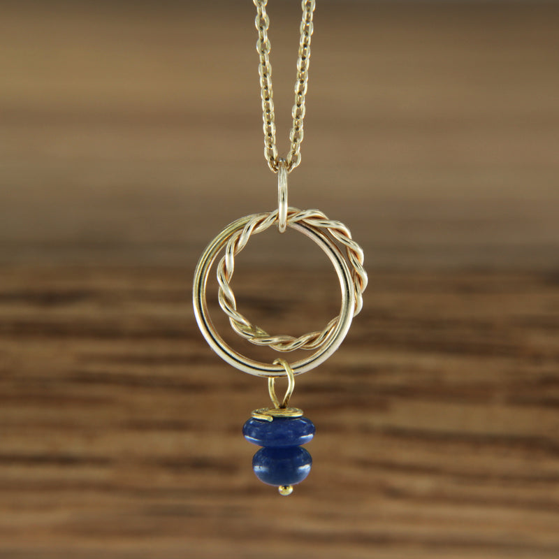 "14K Yellow Gold Handmade Pendant with Sapphire on 16"" 14K Gold Chain"