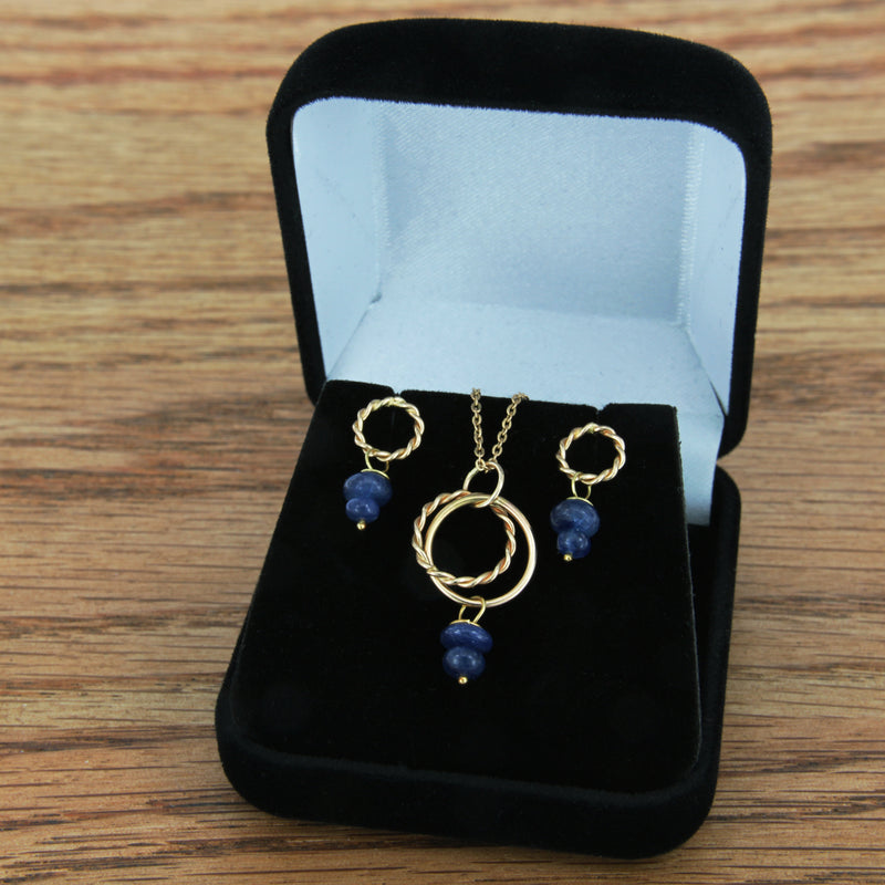 Genuine Sapphire Earrings Handmade 14K Yellow Gold Twist Post Dangle Set