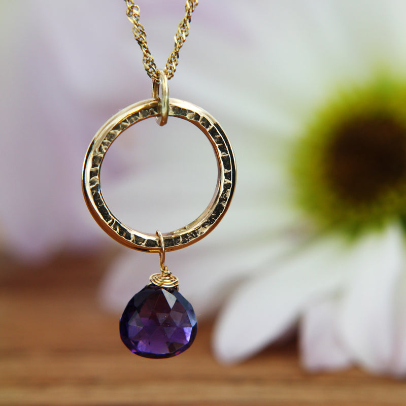 Textured Yellow Gold Pendant with Drop Briollette Amethyst