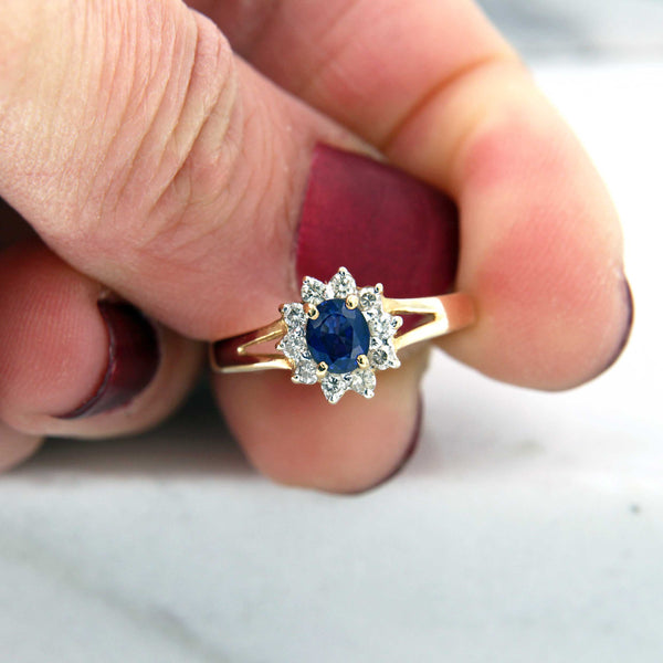 Sapphire Ring with Diamond Halo