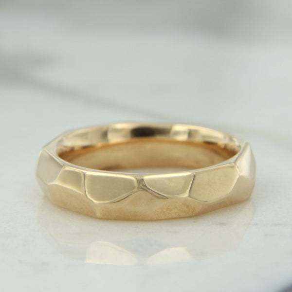 14k yellow gold faceted wedding band