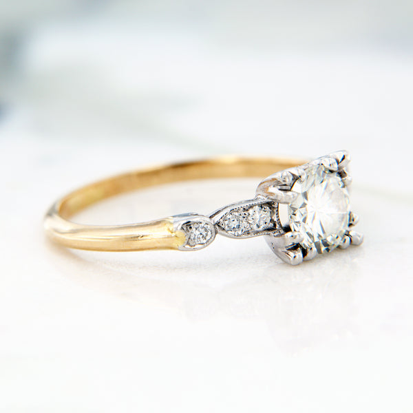 milgrain edge diamond estate engagement ring yellow gold
