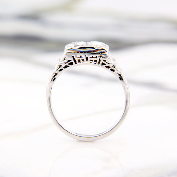 white gold vintage engagement ring