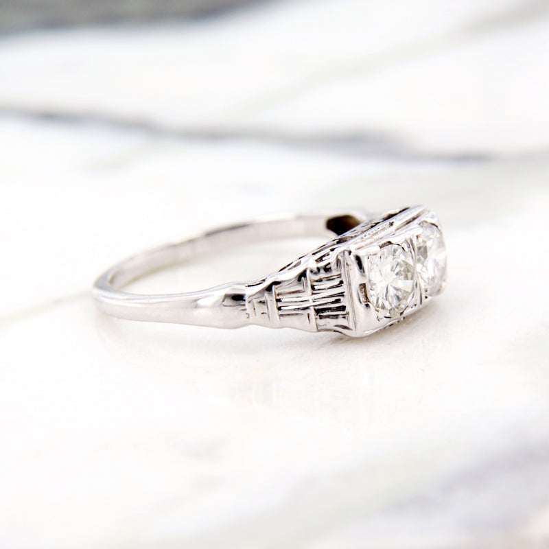 two diamond engagement ring white gold