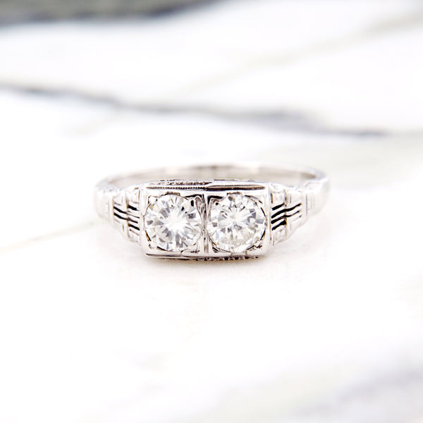 art deco two diamond engagement ring