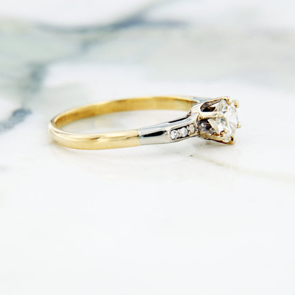 estate diamond ring side view yellow gold