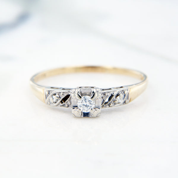 estate diamond engagement ring milgrain detail