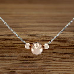 "Rose Gold Filled Beads on Sterling Silver 18"" Chain"
