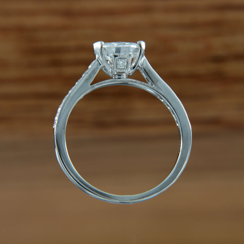 Diamond Engagement Ring 18K White Gold Floating Side View