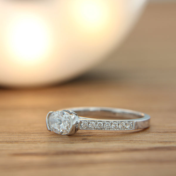 Diamond Engagement Ring 18K White Gold Side View