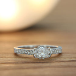 Diamond Engagement Ring 18K White Gold Front View