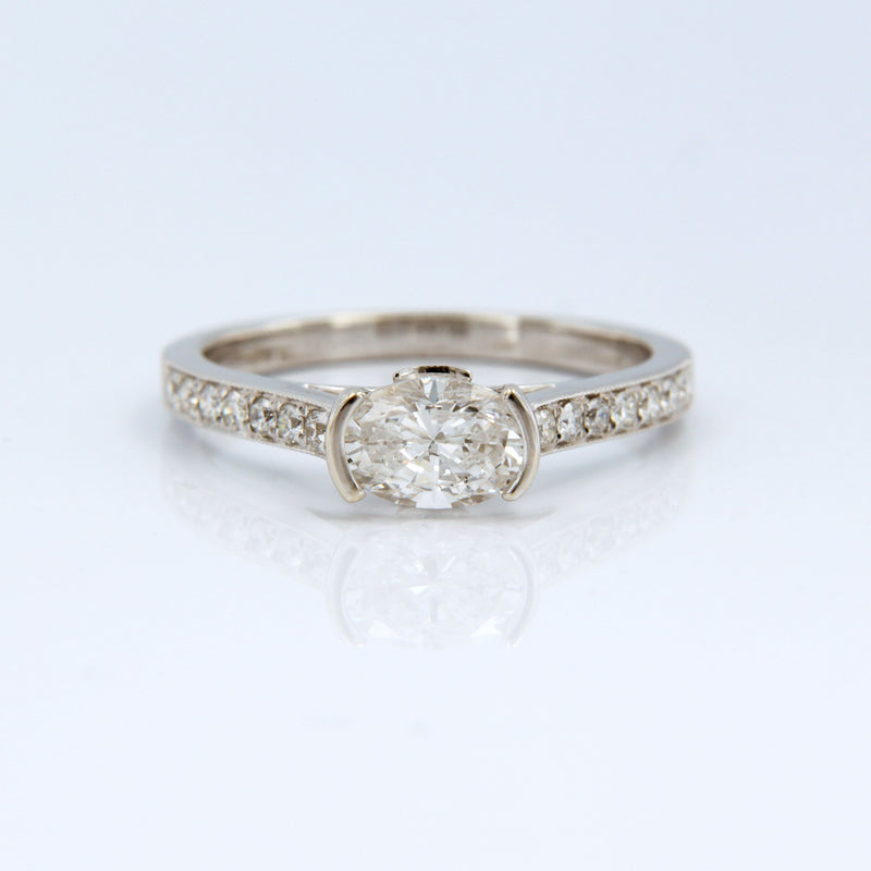 Diamond Engagement Ring 18K White Gold Front View on White