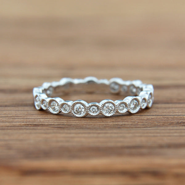 Diamond Ring Band 18K White Gold with Milgrain Edges around Bezel Sets