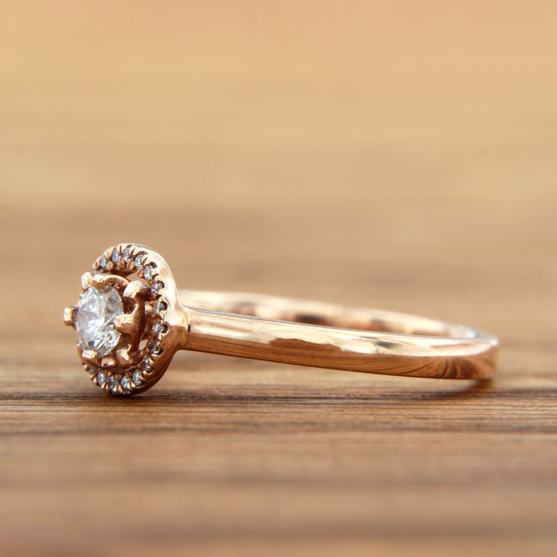 best engagement ring rose gold diamond halo round cut
