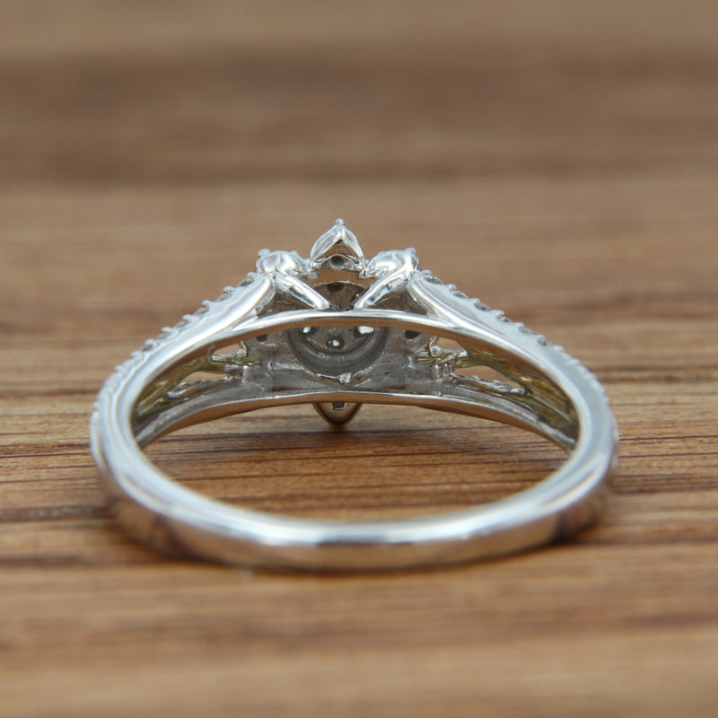 Diamond Engagement Ring 10K White Gold with Yellow Gold Accent