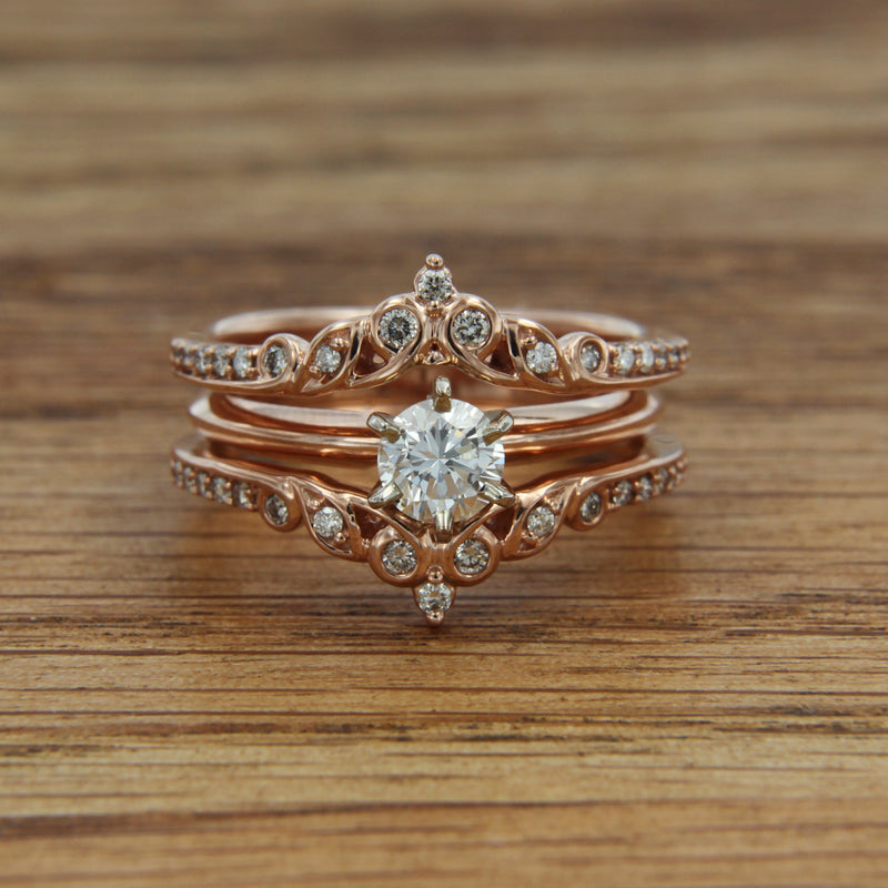 10K Rose Gold Ring Gaurd 1/4 CTTW Diamond Size 7