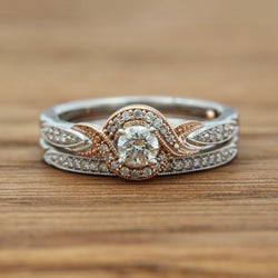 14kwr wedding set rbc .30ct center w/rose gold infinity pave halo .50cttw, wg 17 fc pave set band w/milgrain edge